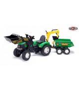 FAL 1005W FALK Трактор-экскаватор педальный с прицепом зеленый