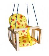 """Качели деревянные подвесные """"Гном"""" с мягким сиденьем"""