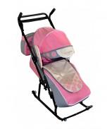 Санки-коляска Вьюга 8-Р1 Арт 04 розовый-серый-бежевый