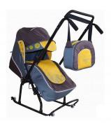 Санки-коляска Вьюга 8-Р1 Арт 03 коричневый-желтый-серый