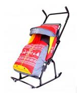 Санки-коляска Герда 4-Р3 с 4 колесиками Скандинавский Узор серый-красный-желтый